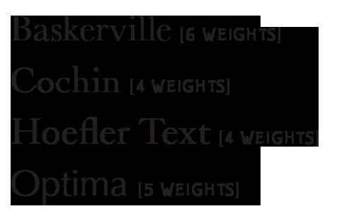baskerville, cochin, hoefler text, optima, fonts available, lion, snow leopard