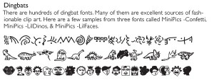 Samples from three dingbat fonts