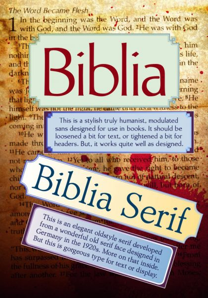 Biblia, Biblia Serif, new book production fonts & a free specimen book